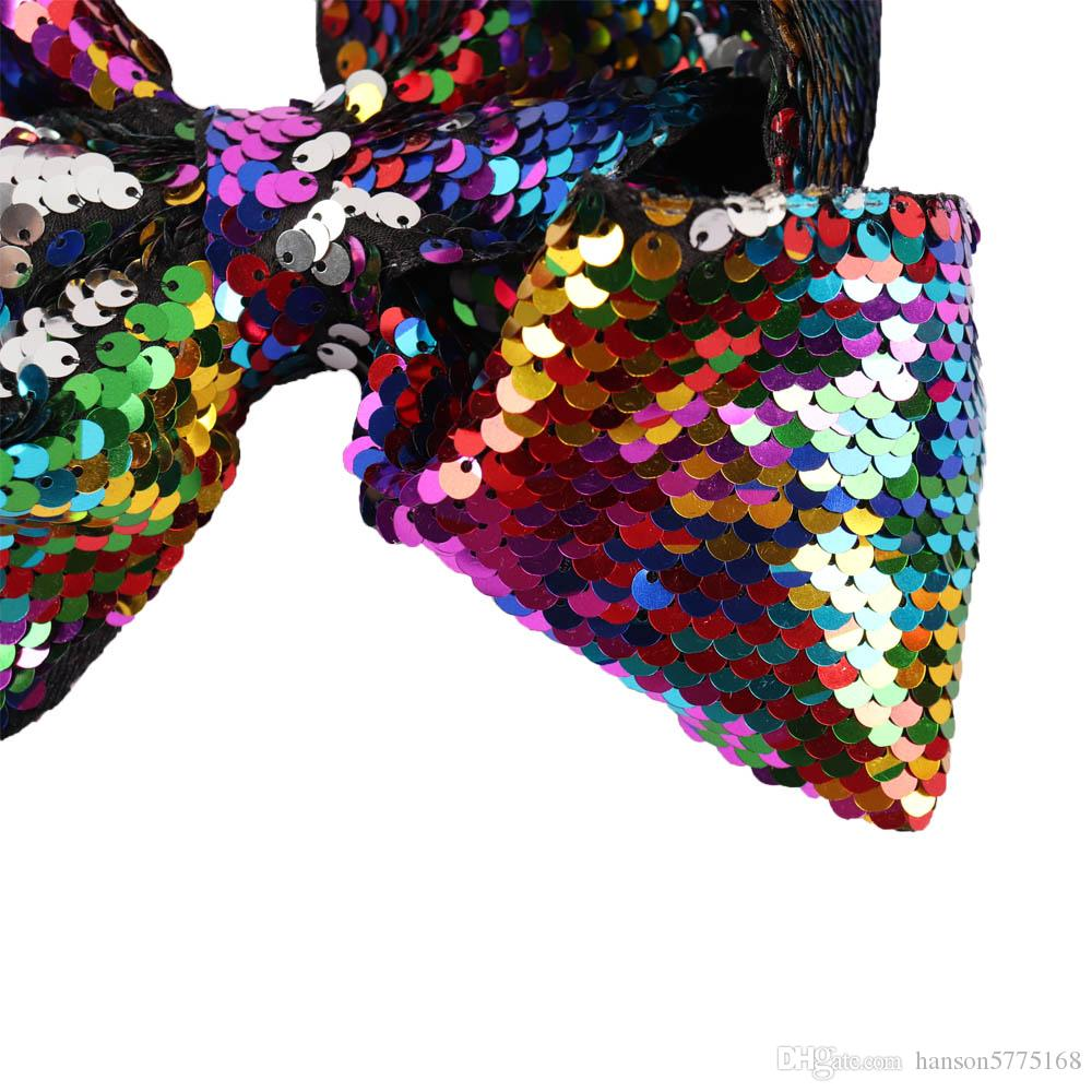 2018 Fashion 8 Inch Large Sequin Mermaid Two Tone Hair Bow With Clip Baby Jojo Bows For Valentines Day