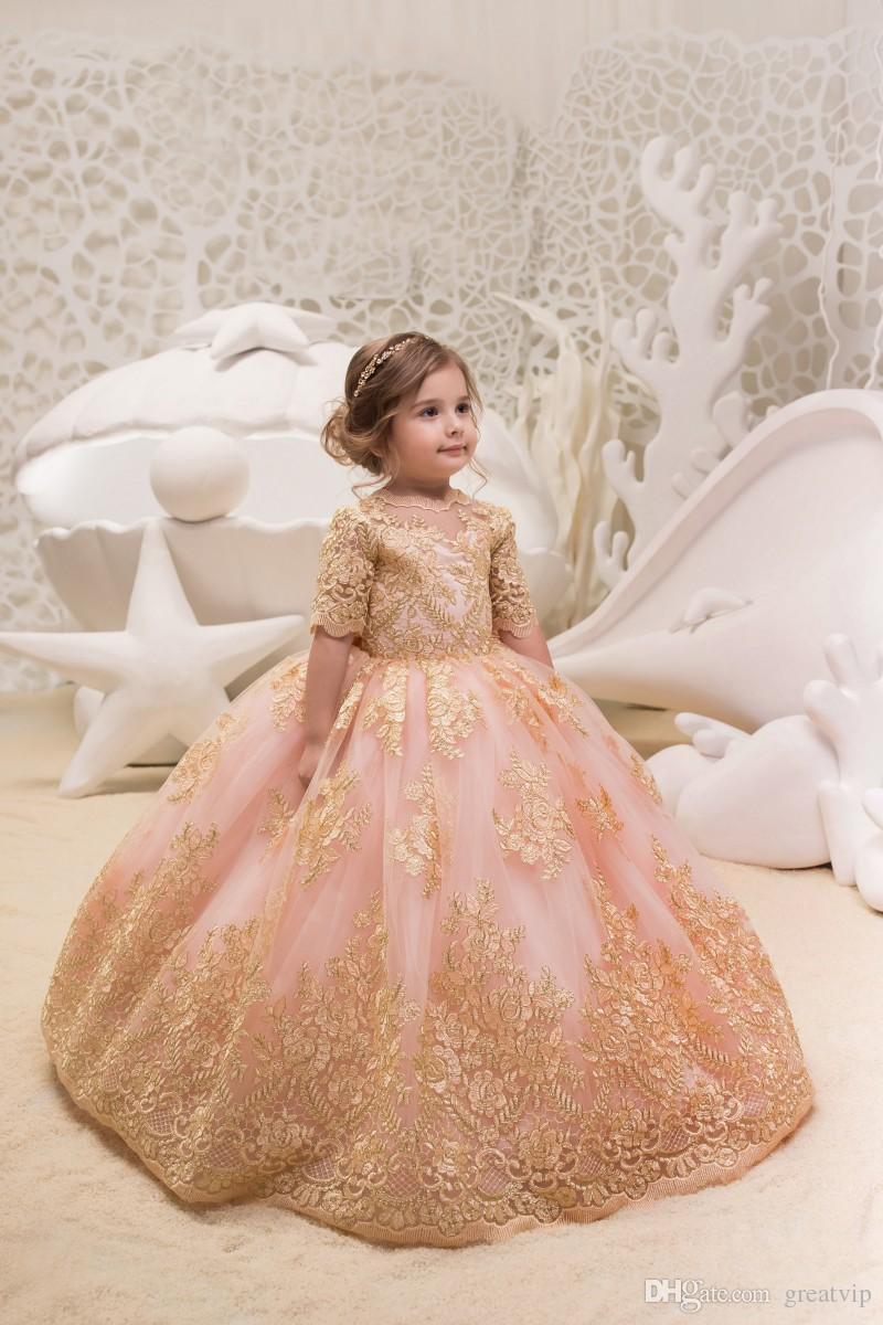 Allık Pembe Balo 2018 Çiçek Kız Elbise Düğün İçin Yarım Kollu Dantel Aplike Çocuk Resmi Giyim Tül Communion Elbise