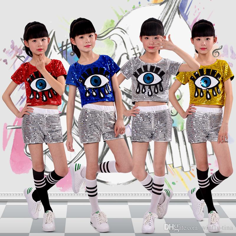 0341c8669 2019 2018 Big Eyes Girls Sequins Modern Dance Hip Hop Jazz Dance ...