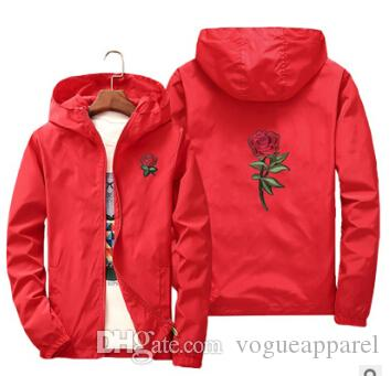 Rose Embroidery Jackets Mens Spring Autumn Windbreaker Jacket Thin Women Floral Slim Fit Sports Coats