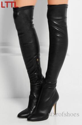 2018 Frauen Oberschenkel Hohe Stiefel Dame Overknee High Heels Booties Schwarz Leder Lange Booties Sexy Oberschenkel Hohe Gladiator Stiefel