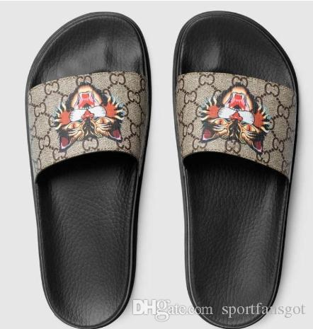 9f2c0cb964 Designer Sandals Luxury Cat Tiger Bee Print Soft Leather Rubber Men ...