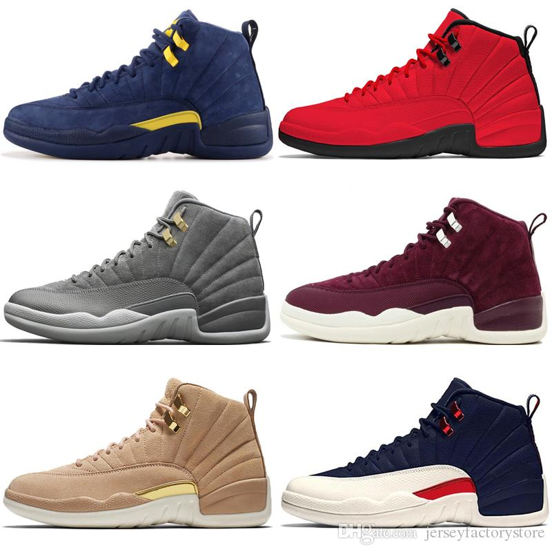 c3f8a35fa9b968 12 12s Men Basketball Shoes Michigan Bulls College Navy UNC NYC Vachetta  Tan Dark Grey Bordeaux Wings Flu Game Taxi Wool Mens Sport Sneakers Canada  2019 ...
