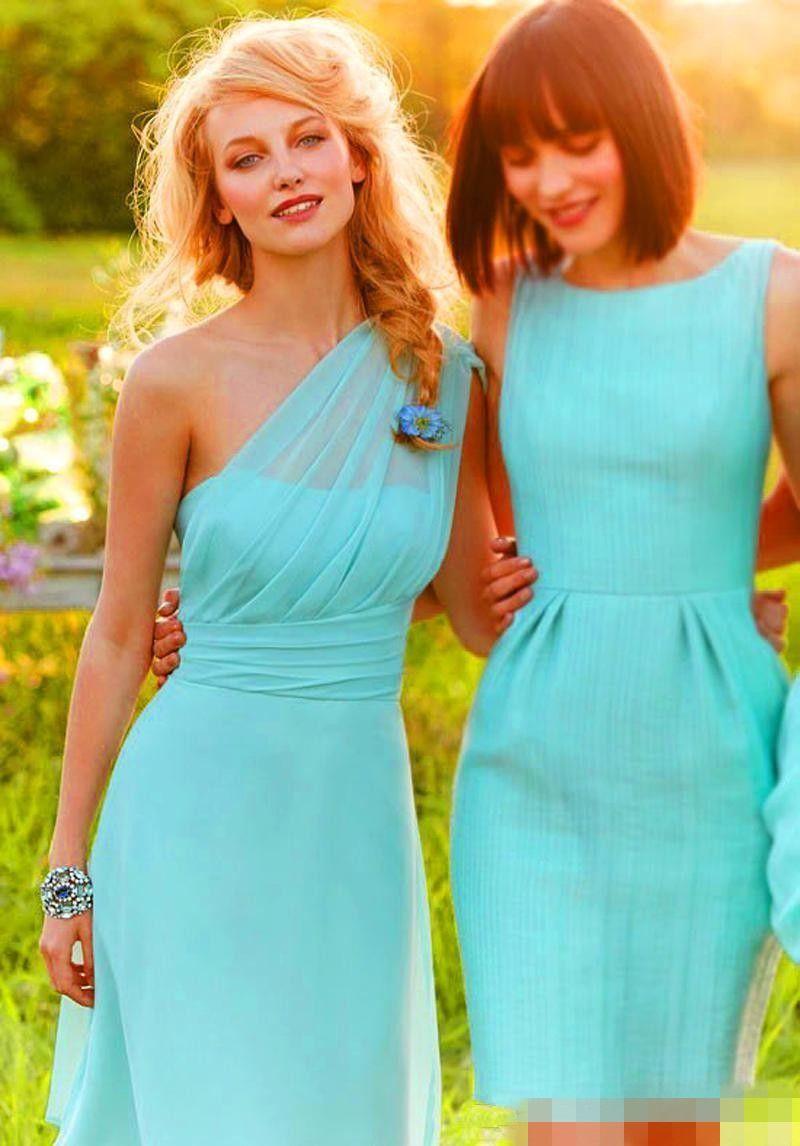 Vestidos One Shoulde Con cuello en v Hasta la rodilla menta Vestido de dama de honor de gasa verde Con marco de cristal Damas de playa Vestido de fiesta de bodas Barato