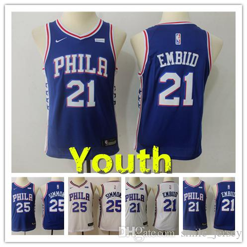 2019 2019 Youth 21 Joel Embiid Philadelphia Jersey 76ers Kids Basketball  Jersey Stitched Embroidery 76ers 25 Ben Simmons Boys Basketball Jersey From  ... 5c01a328645