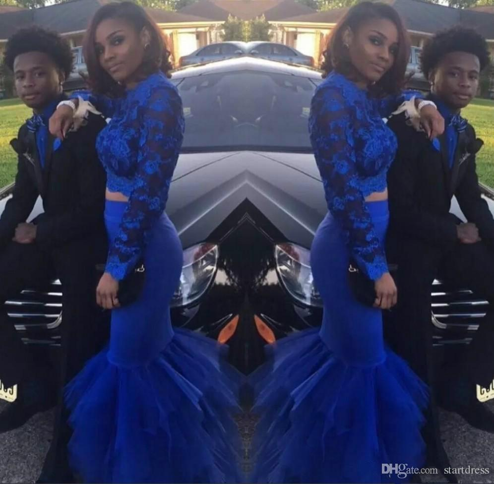 854d102321 Two Piece African Mermaid Prom Dresses Royal Blue Black Girls Nigerian Lace  High Neck Illusion Top Long Sleeve Evening Formal Party Gowns Formal Dress  Shops ...