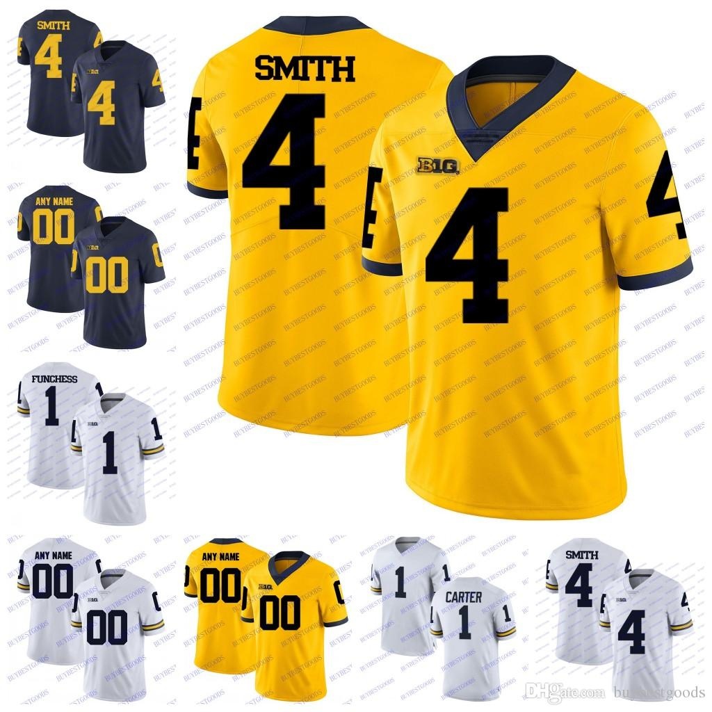new concept ee0a8 ff281 Custom Michigan Wolverines College Football 1 Anthony Carter Devin Funchess  Braylon Edwards 4 De Veon Smith White Blue Yellow Jerseys Stitch