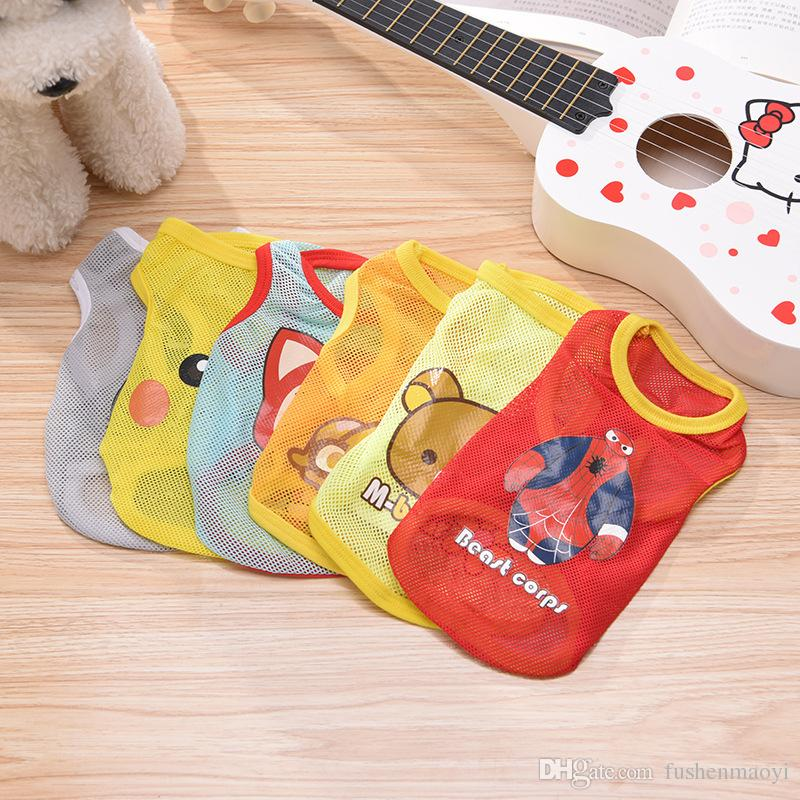 Small Pet Dog Clothes Fashion Costume Vest Puppy Cat T-Shirt Summer Apparel Mesh Cloth Anime Pet Clothing