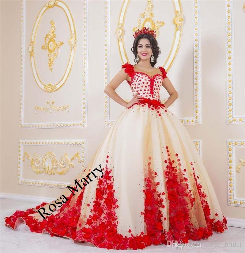 Großhandel Prinzessin 3d Floral Red Ballkleid Brautkleider 2018 ...