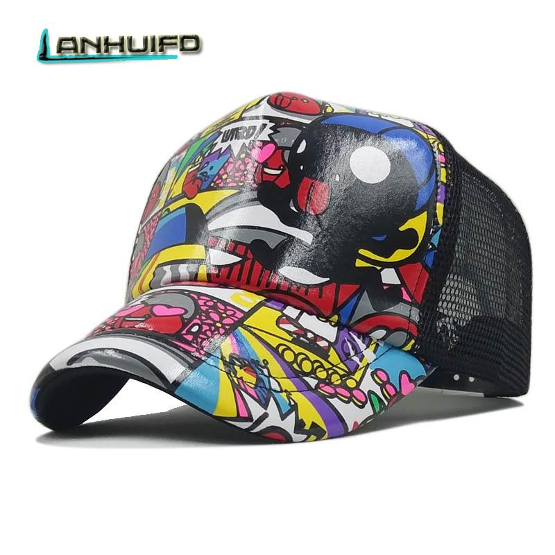 4fa342cd900 LANHUIFD Hip Hop Multicolor Print Curved Baseball Caps Summer Mesh Snapback  Hats Women Men Casquette Trucker Cap Cartoon Child Flat Caps For Men Womens  ...