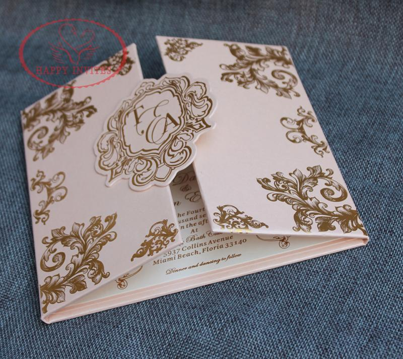 For Some Countries! HI1142 Customized Pink Hard Cover Wedding Invitation  Card With Gold Foil Made In China How To Word Wedding Invitations Informal  Wedding ... 7a47268c082c