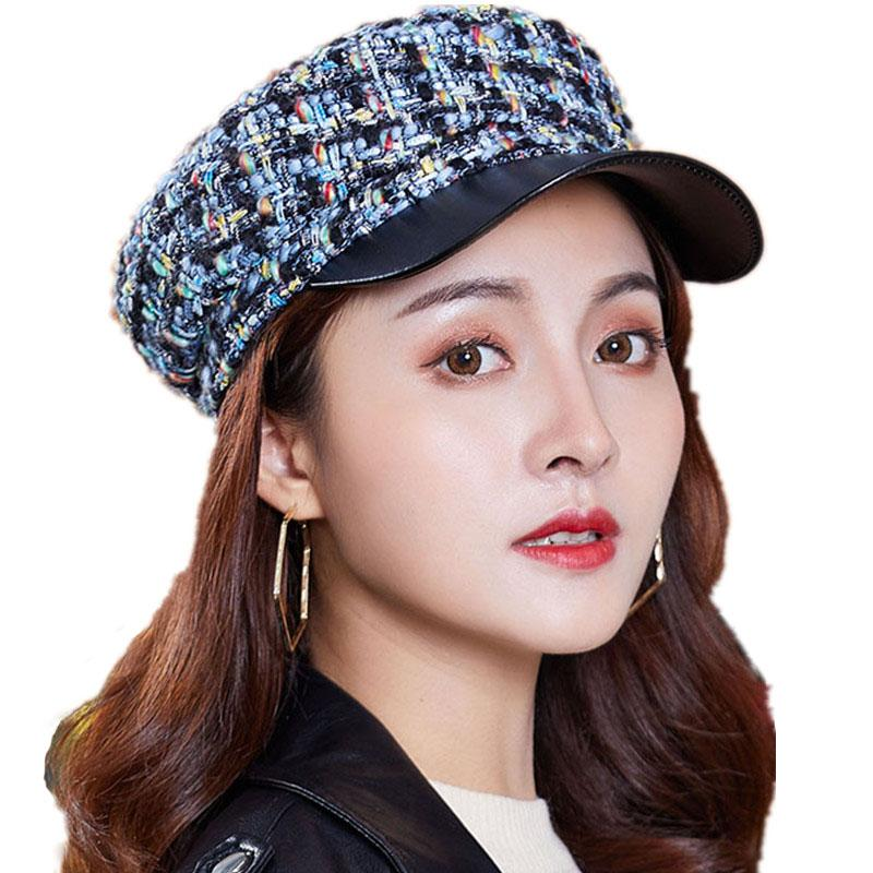 ed21aee14 Elegant Women s Cap Hats 2018 New Style Autumn Winter Fashion Knit Hat  Retro Decorated Flat Cap For Women