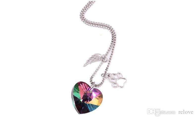 Wings heart Shaped colorful glass pendant necklace Dog Print Pendant women girl's fashion jewelry