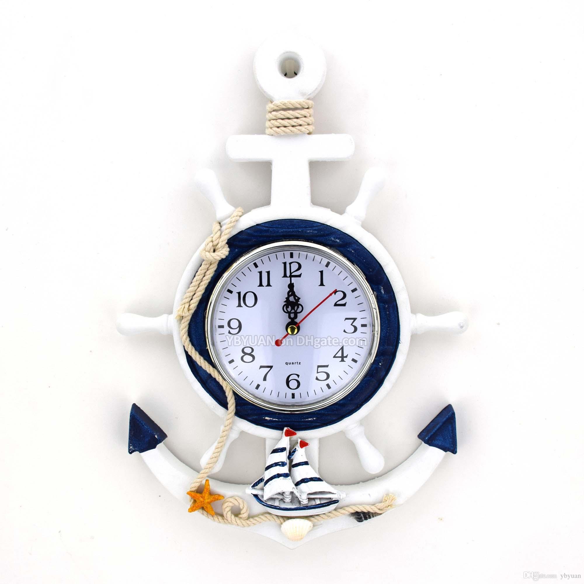 5cb58d1e010 Compre HDF Afligido Madeira Helm Relógio De Parede De Âncora Relógio De  Quartzo Estilo Mediterrâneo Relógio Com Estrela Do Mar Concha Do Mar Shell  ...