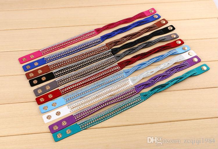 Nouveau mode Pu cuir Wrap Bracelet Cuff Punk Strass Bracelet Cristal Bangle Charme Bracelets pour les femmes
