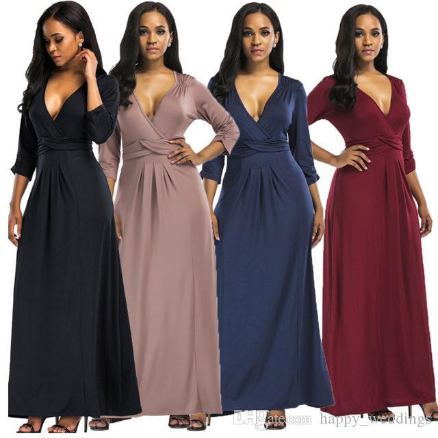 Acquista 3XL Plus Size Abito Lungo Stile Delle Donne 2018 3 4 Manica Sexy  Profondo Scollo Av Partito Di Sera Tunica Maxi Abbigliamento Nero Vestidos  Grande ... 964b003d594