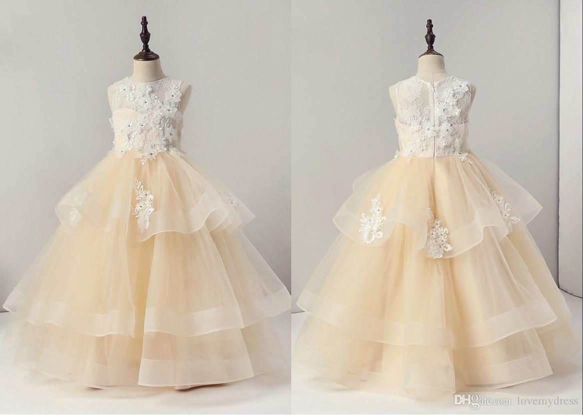 23c9997df Romantic 3D Floral Flower Girls Dresses For Wedding Champagne Lace Layers  Organza Applique Hollow Back Zipper Cheap First Communion Dress Gowns Long  Dresses ...