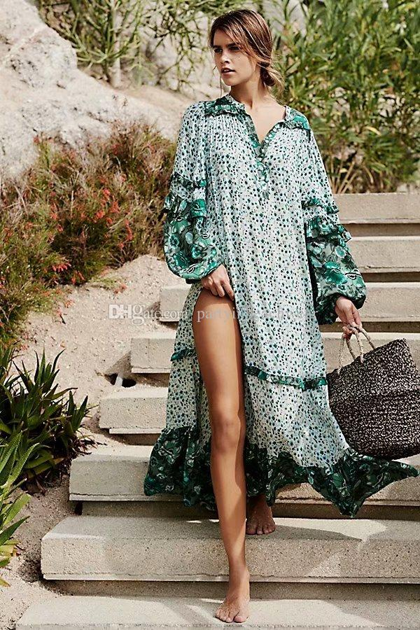 a6488986677a2 Green boho beach bohemian dresses women New Chic floral printed maxi V-neck  long sleeve split dresses Spring summer holiday seaside dresses