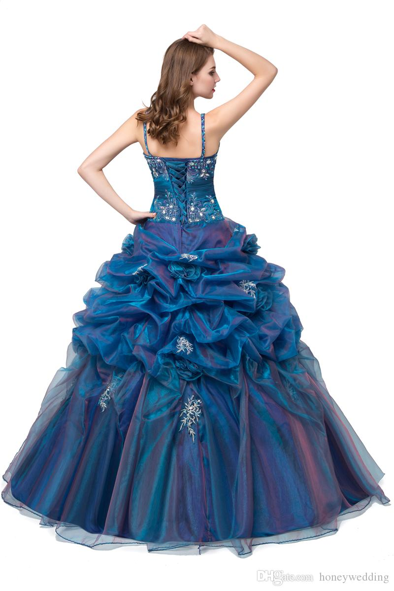 Blue Quinceanera Dresses Cheap 2018 Spagetti Straps Ball Gown Sweet 16 Teens Birthday Party Dress Masquerade Prom Dresses