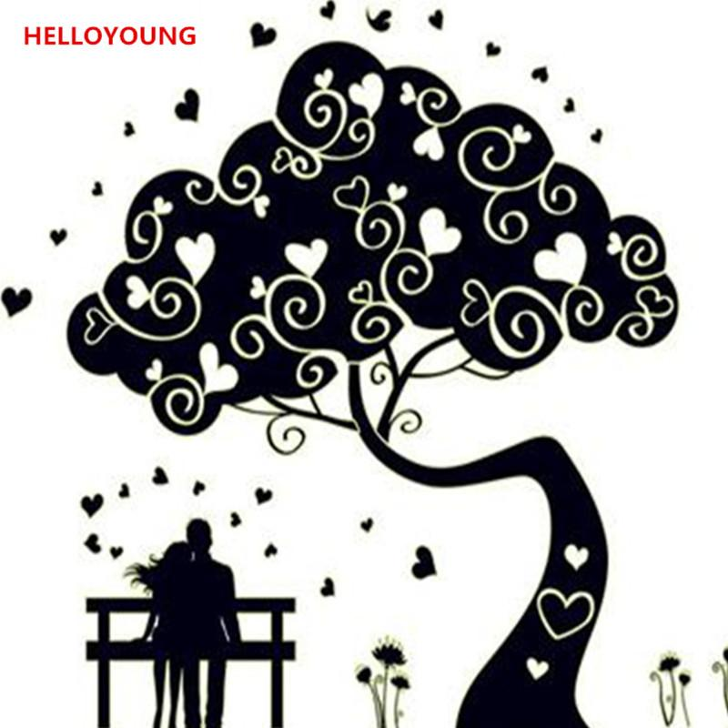 luminous abstract tree wall sticker glow in the dark art mural