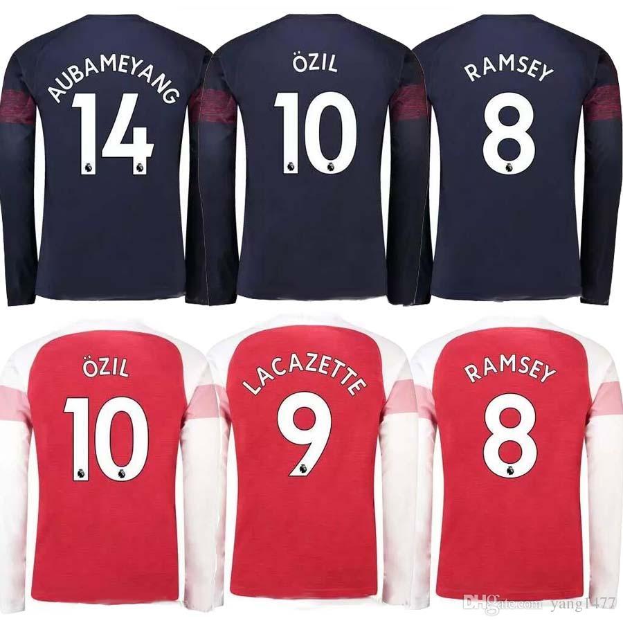 919e3e2a4 2018 2019 Gunners OZIL AUBAMEYANGA Away Long Sleeve Soccer Jersey 18 ...
