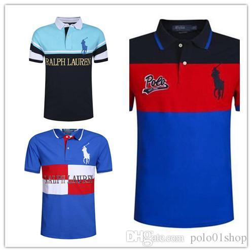 2deb529e PLus Size M~2XL Sales Golf Polo Men's T-shirt Multi Color Slim Polo ...