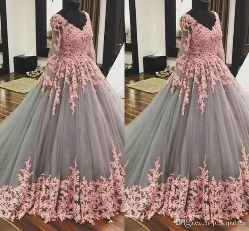 da30afa757 Masquerade Ball Gowns Quinceanera Dresses V Neck Long Sleeves 3D Floral  Flowers Sweep Train Prom Dresses Sweety Girls 15 Years Dress Quinceanera  Princess ...