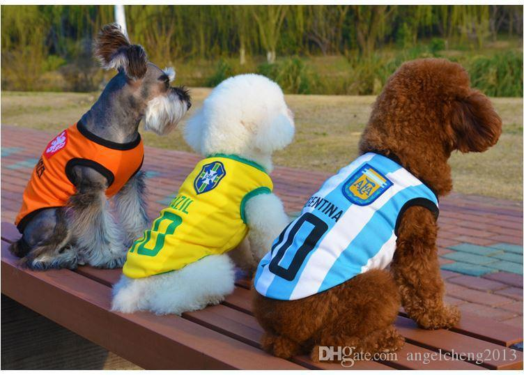 0dba28ec198 2019 Pet Apparel Spring Summer Cotton Shirts World Cup Uniforms Small Dog  Cat Clothes Sleeveless Sports T Shirt Vest Puppy Costumes, Football Pet  From ...