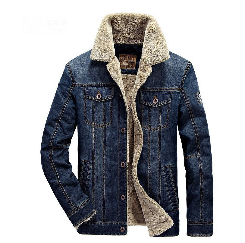 sale retailer 08fdc 40a51 Herren Jeans Jacken Winter Warm Fleece Bomberjacke Herren Mode Winddicht  Cowboy Windbreaker Dick Denim Jacken jaqueta M-4XL