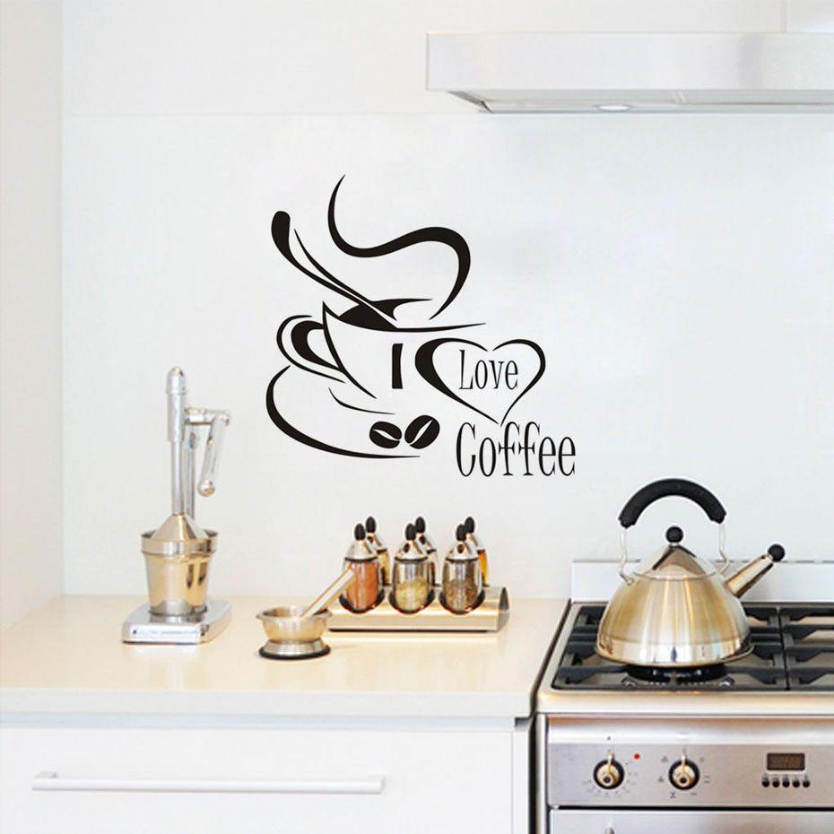 Ich Liebe Kaffee Wandtattoo Nette Kaffeetasse Wandaufkleber Küche  Restaurant Küche Tasse Mit Liebe Herz Vinyl Removable Wallpaper
