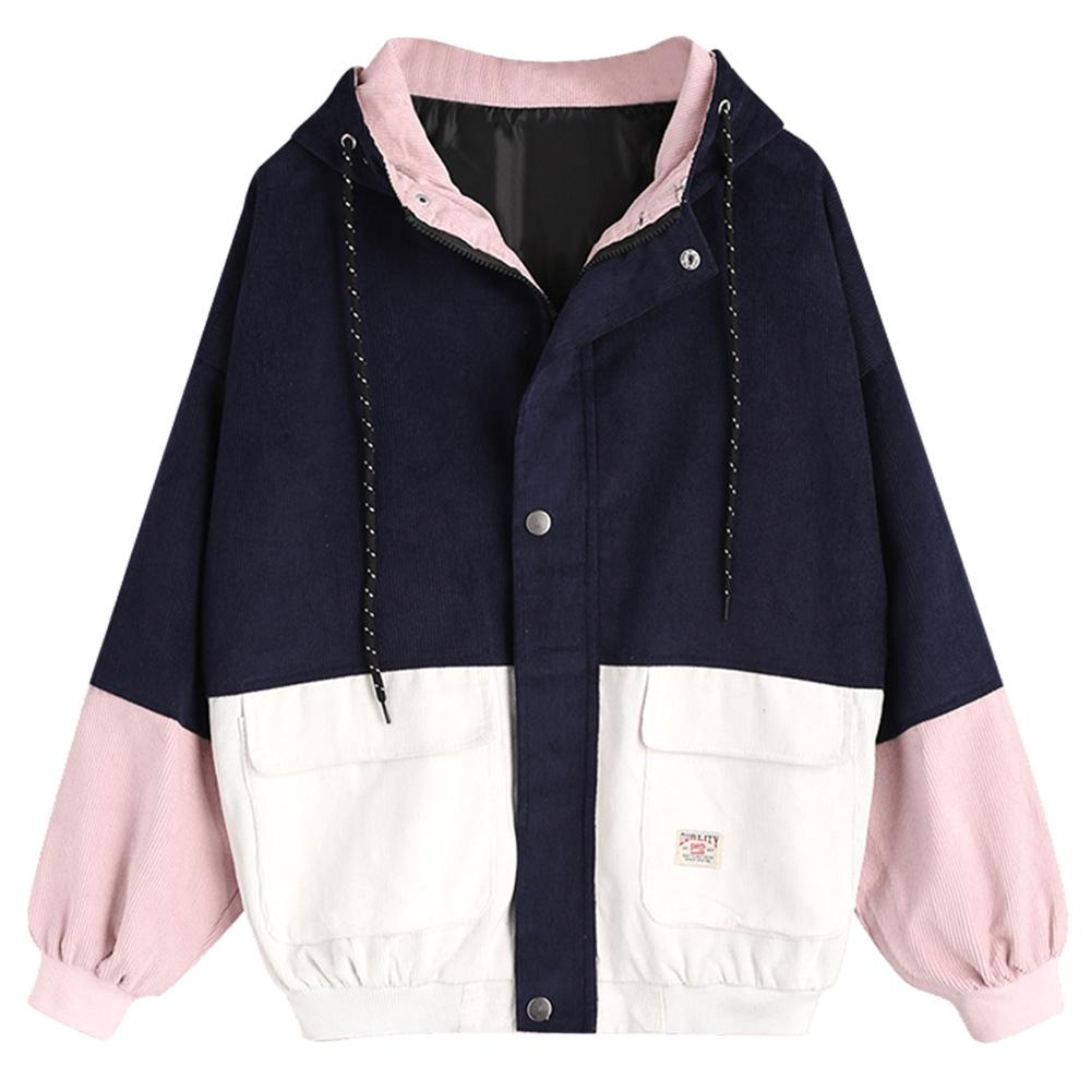 d155fd603e4a Wipalo Spring Jacket Coat Women Patchwork Color Block Hooded Pocket  Corduroy Jackets Autumn Casual Jacket Coats Women Outerwear L18100904  Straight Jackets ...