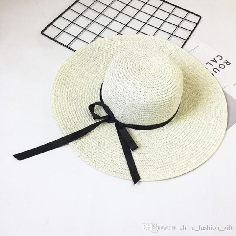 Grandes Chapéus de Malha Dobrável Chapéu De Palha Boho Chapéus de Aba Larga Verão Praia Chapéu Para Senhora Protetor Solar Tampas Para As Mulheres