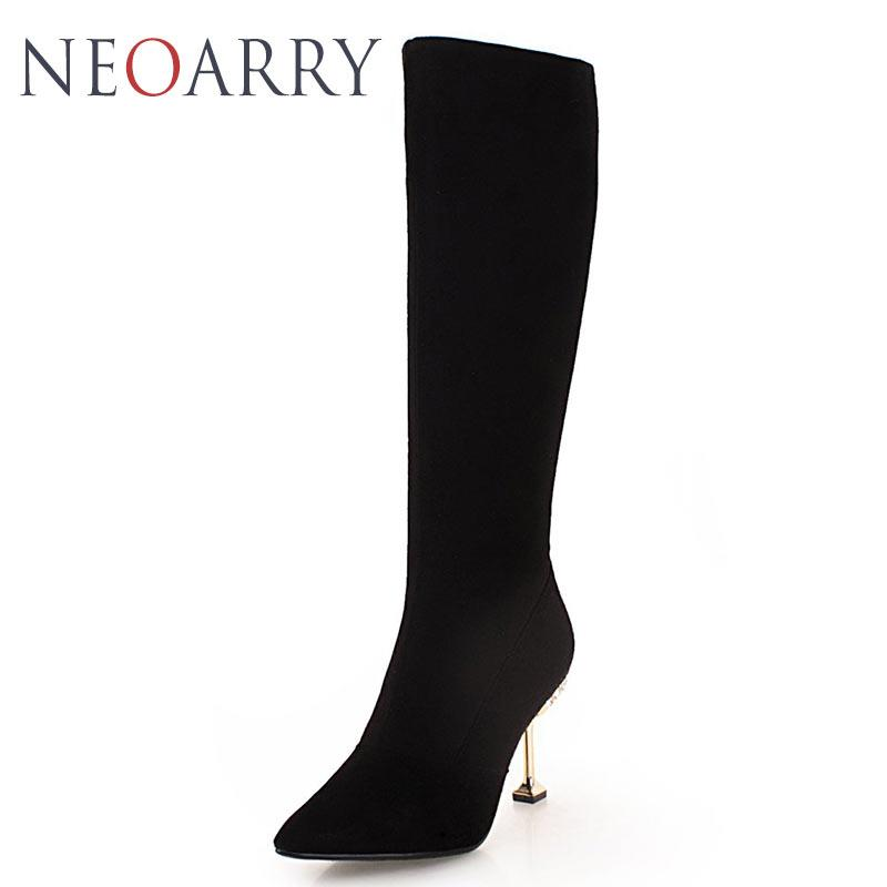Neoarry Black Red Wedding Shoes Knee High Boots High Heels Sapatos Mujer  Pointed Toe Zipper Botas Femininos Big Size 43 T162 Shoe Shops Cheap Shoes  For ... 5c84811f66be
