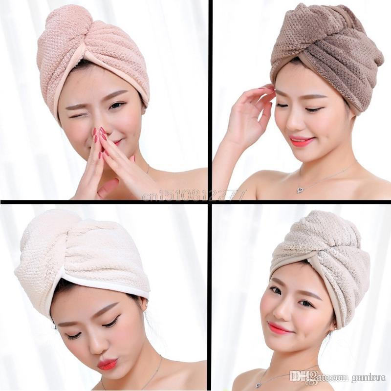 Bathroom Fixtures 1pc Ladies Bathroom Hair Drying Cap Super Water-absorbent Microfiber Hair Towel Makeup Cosmetics Bath Cap For Women Ponytail Hat