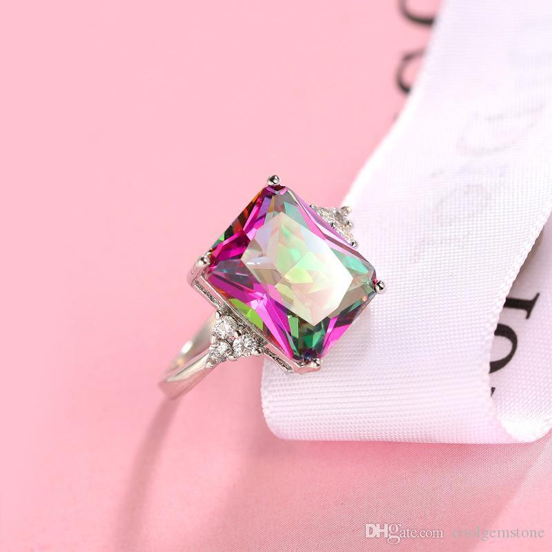 Heißer Verkäufer freier und schneller Versand 925 Sterlingsilber überzogener mystischer Stein, der Edelstein-Cocktail-Hochzeits-Ringe für Geliebte blendet
