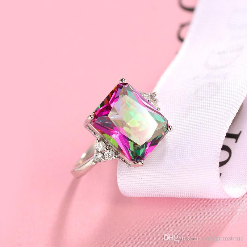Hot seller Free And Fast Shipping 925 sterling Silver Plated mystic stone Glaring Gemstone Cocktail Wedding Rings for lovers