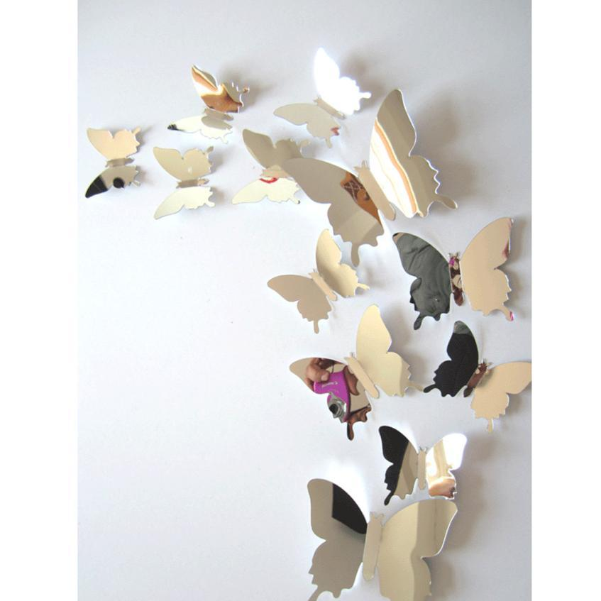 PVC 3D DIY Butterfly Wall Stickers Home Decor Poster for Kitchen Bathroom Fridge Adhesive Wall Decals Decoration D30A
