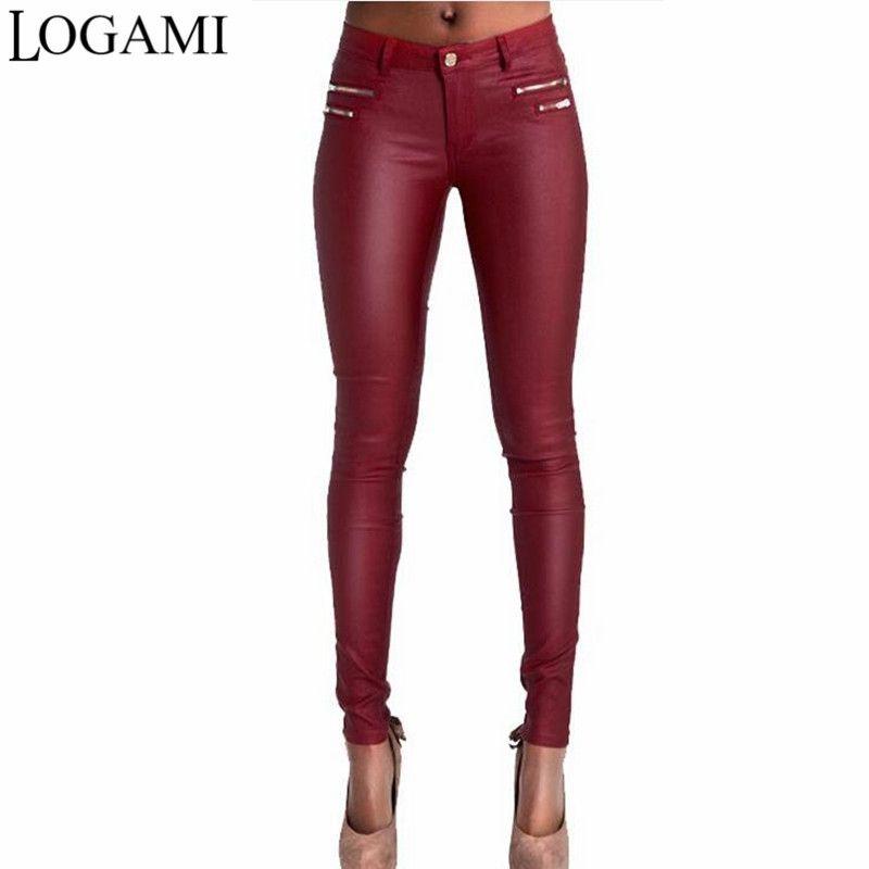 9e8bebb2035ec 2019 LOGAMI Faux Leather Pants Women Skinny Low Waist Slim Pu Leather  Trousers Wine Red Pantalon En Cuir Femmes From Xiamen2013, $33.04 |  DHgate.Com