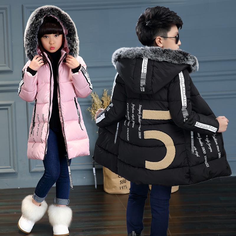 380c9369e 2017New Kids Long Parkas For Girls Fur Hooded Coat Winter Warm Down Jacket  Children Outerwear Infants Thick Overcoat 4 6 9 10 12 Y18102608