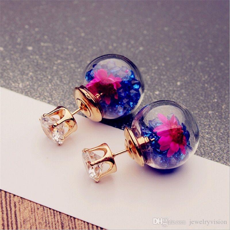 뜨거운 유럽 패션 쥬얼리 귀여운 유리 볼 라인 석 꽃 스터드 귀걸이 여자의 우아한 귀걸이