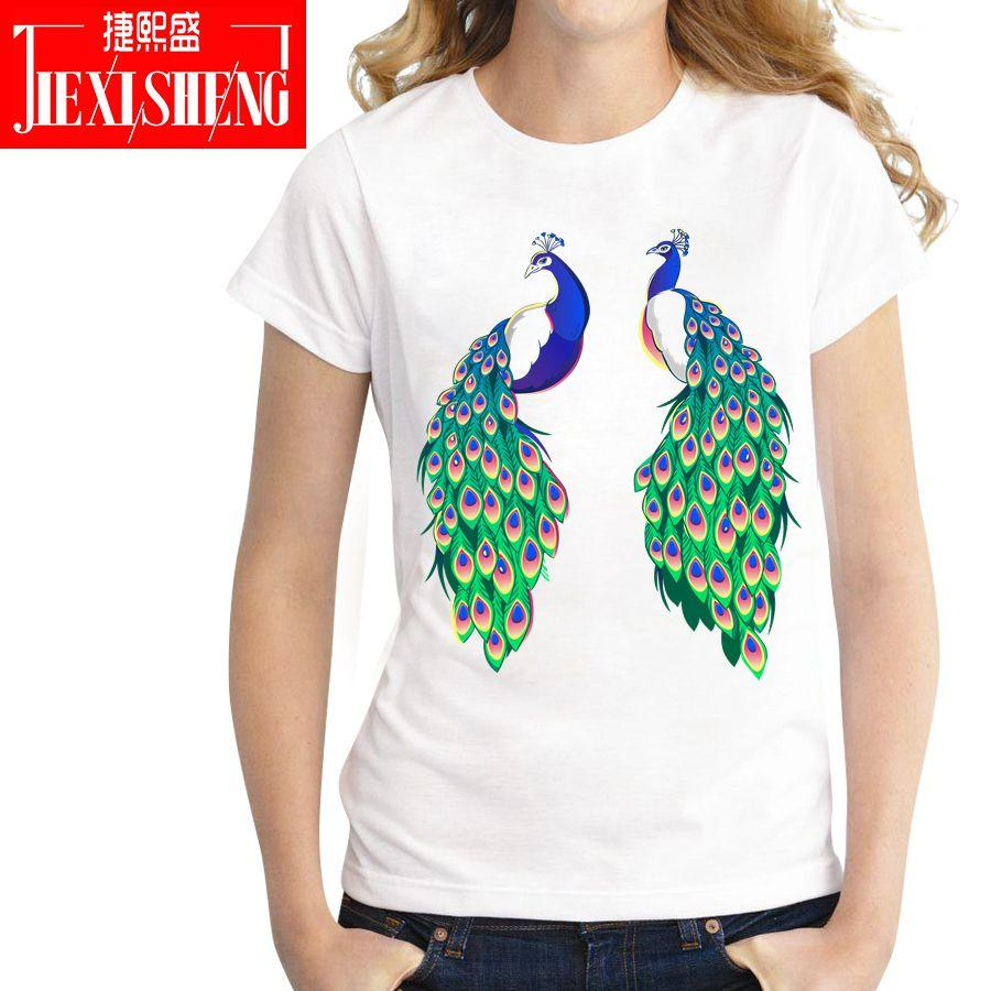 Summer Printed New Fashion Tee Fine T Women's Tops Peacock lF1cKJ