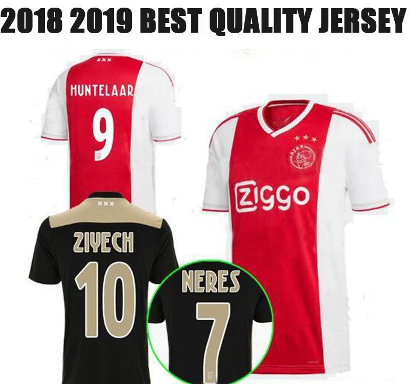db50423da80 2019 18 19 Ajax Black Soccer Jersey Ajax Away Soccer Shirt 2018 2019  HUNTELAAR KLAASSEN Customized HOME Football Shirts Best Quality Uniform  From ...