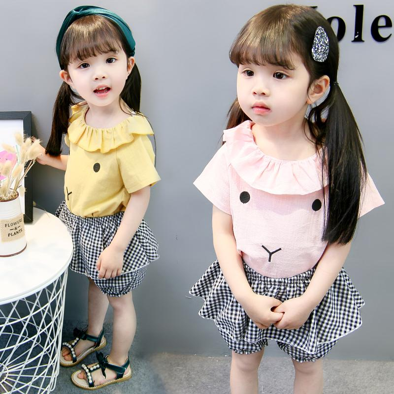a5f00ea5083c Set Girl Costume Cotton Sweet Cute Kid Clothes Infantil Baby Girls ...
