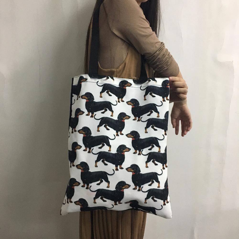 THIKIN Borse la spesa in tela le donne Eco riutilizzabile Borsa pieghevole nera in cotone con stampa labrador Borsa tote in cotone