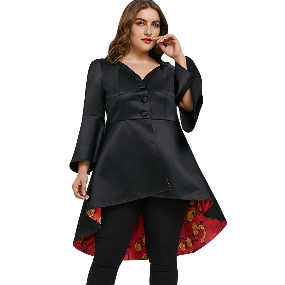 28033897970c2 2019 Wipalo Plus Size Lace Up High Low Skirted Coat Flare Sleeve Coat V  Neck Female Outwear Single Breasted Trench From Cashmere52