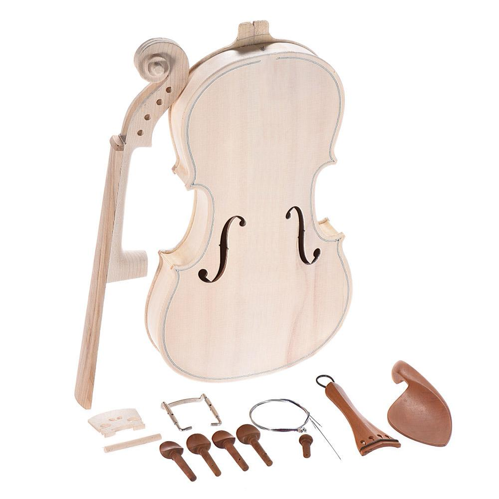 DIY 4/4 Full Size Natural Solid Wood Acoustic Violin Fiddle Kit with EQ Spruce Top Maple Back Neck Fingerboard Aluminum