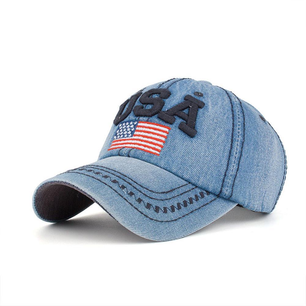 d653cd2014f New Arrival Snapback Cap Cotton Denim Baseball Cap USA Flag Embroidery Hat  High Quality For Men Women Hip Hop Unisex Brixton Hats Trucker Cap From  Fengzh