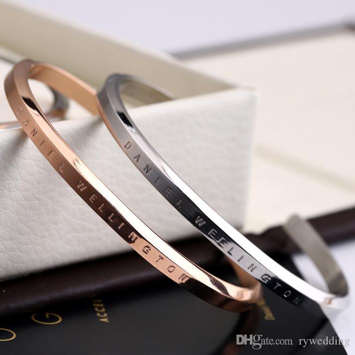 Манжета DW Браслеты из нержавеющей стали Панк розовое золото Серебро Золото Браслеты для женщин и мужчин Pulsera мода качество ювелирных изделий верхнее