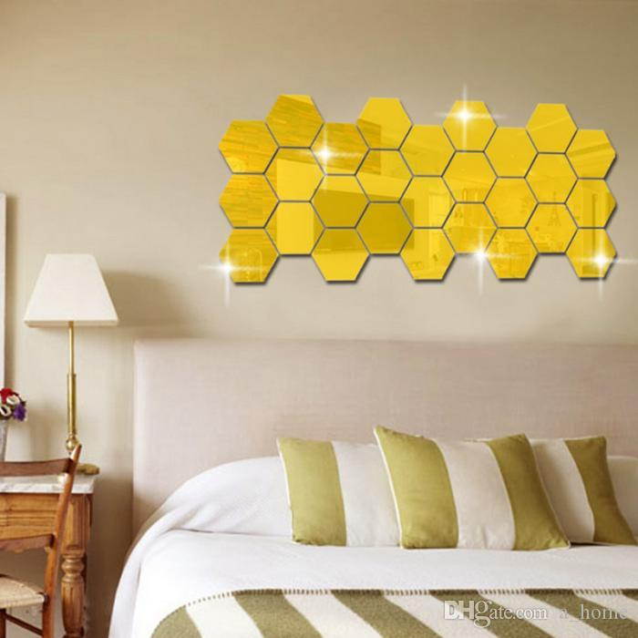 Top Quality 3d Hexagon Acrylic Mirror Wall Stickers Diy Art Wall ...