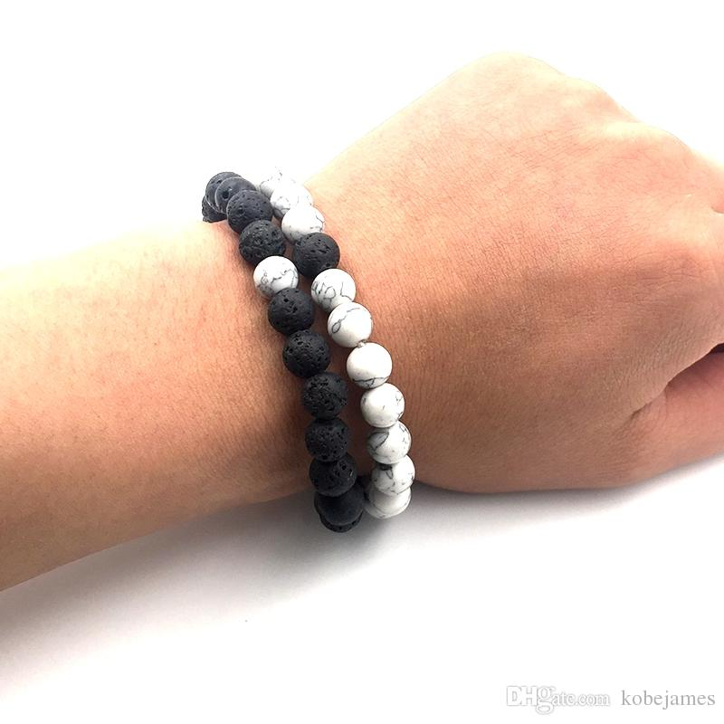 8mm White Howlite stone and Volcanic Rock Lava Stone Beads Bracelets set For Women Men Stretch Jewelry gift A18038